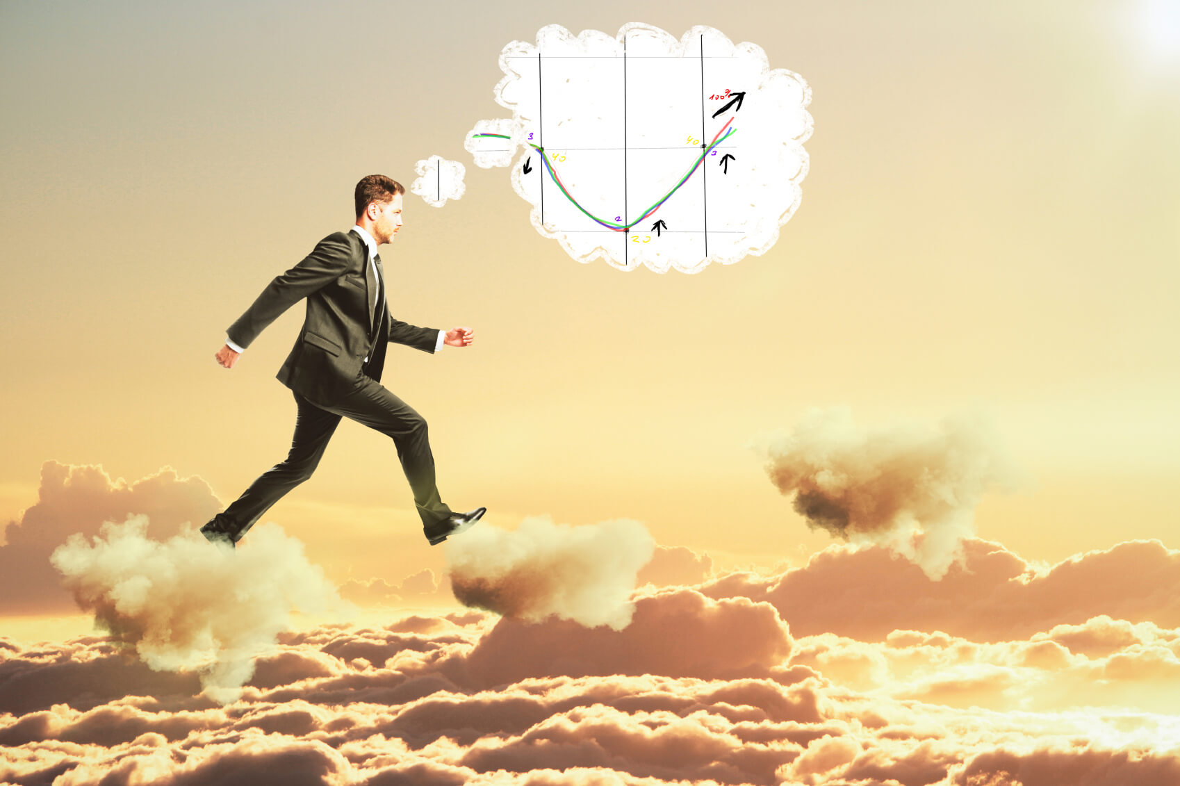 Man thinking about business graph and walking on clouds concept
